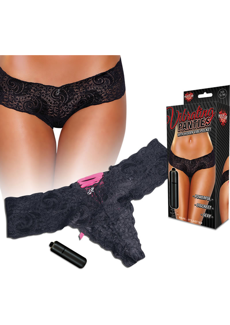 Lace Up Back Vibrating Panty Black S/m
